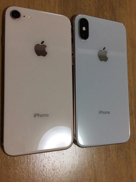iPhoneXと8を並べてみた